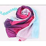 LOHOME (TM) 100% Mulberry Silk Extra-large Ultra Soft Comfy Plain Gradient Ramp Colorful Luxury Pashmina All Season Classic Scarf Lightweight Shawl Graceful Wrap - Over 14 Colors (A)