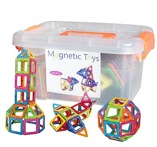 CHANVI 66 PCS Magnetic toy, Square, Triangle, Large Triangle - Deluxe Building (Big Triangle)