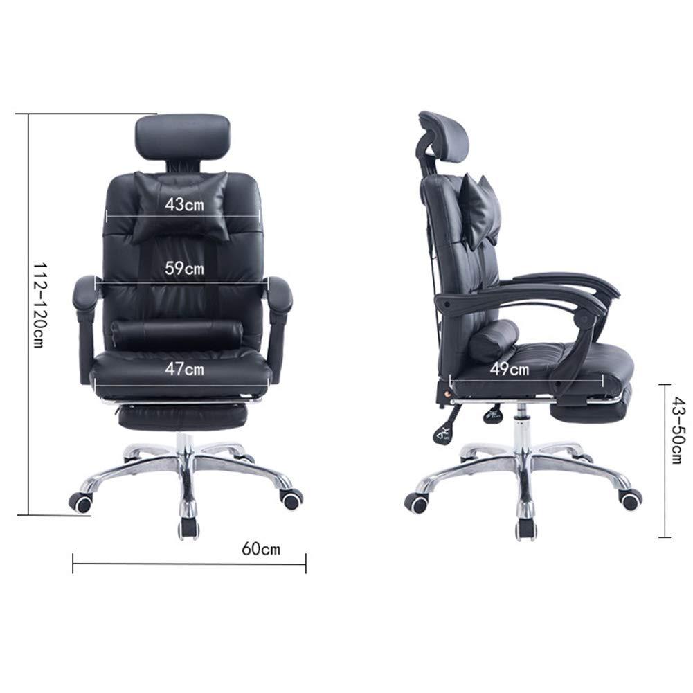CAISYE Profi kontorsstol kock – äkta läder – svart – med huvudstöd, vridstol, kontorsrullstol, skrivbordsstol, kockstol, ergonomisk, högklassigt hantverk, 200 kg tål belastning b