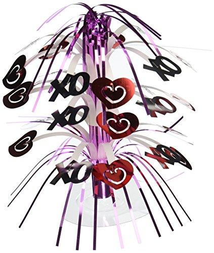 Silver Cascade Centerpiece (Creative Converting Mini Cascade Centerpiece, Red and Silver Hearts)