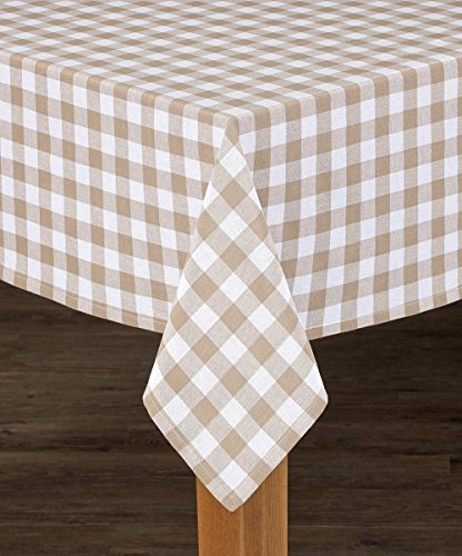 HomeCrate Classic Buffalo Check Collection 100% Cotton Tablecolth, Sand - 52