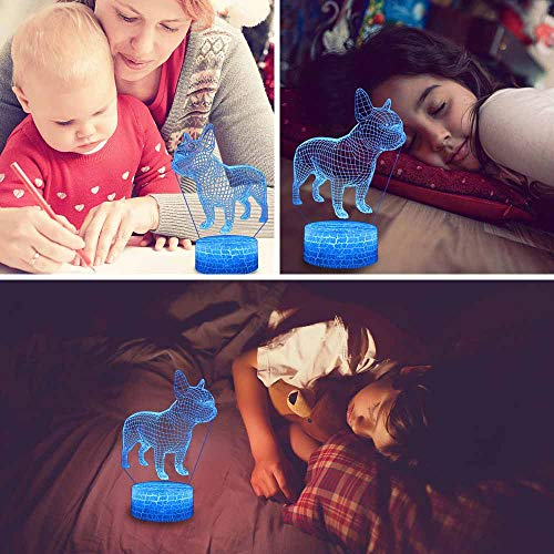 3D Night Light, 7 Colors Changing Smart Switch Remote Control USB & Battery Powered Bulldog Toy 3D Crackle LED Desk Lamps Perfect Birthday Christmas Party Gift for Baby Kid Boy Girl Friend