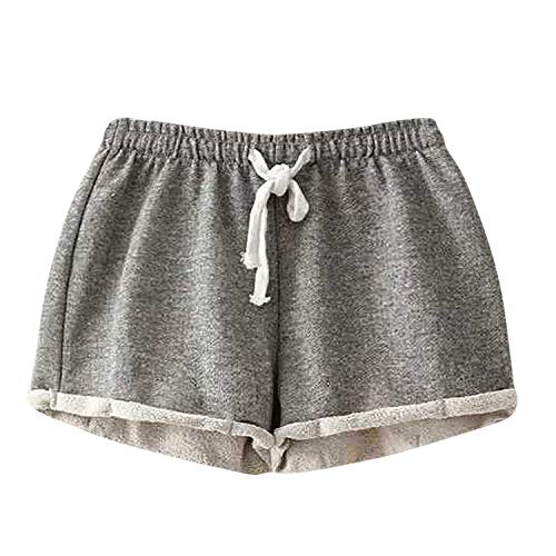 - Solid Color Shorts Women's Fashion Comfortable Casual Sports Shorts Personality Sexy Home Travel Fitness Shorts Gray M