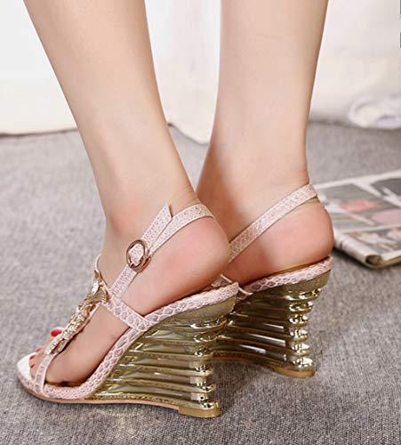 Strass Shoe Alto Open Sandali 2 store Tacco Colore Estate 37 Toe Dimensioni Confortevoli wEqWOE1r