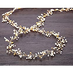 Tsuen Bridal Hair Vines Crystals Wedding Headpieces, 20 Inches Handmade Crystal Pearl Wedding Evening Party Headpiece Head Band Bride Wedding Hair Accessories for Bridesmaid and Flowergirls, Gold