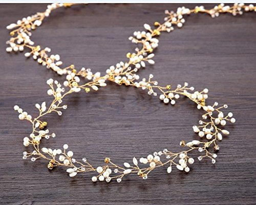 TQsuen Bridal Hair Vines Crystals Wedding Headpieces, 20 Inches Handmade Crystal Pearl Wedding Evening Party Headpiece Head Band Bride Wedding Hair Accessories for Bridesmaid and Flowergirls, Gold]()