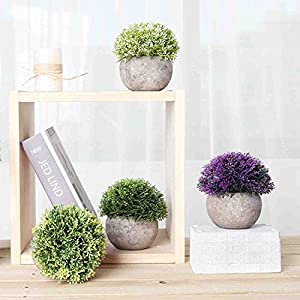 CEWOR 4 Pack Artificial Mini Plants Plastic Mini Plants Topiary Shrubs Fake Plants for Bathroom,House Decorations 6