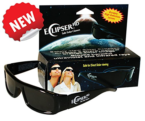 Eclipser HD Safe Solar Plastic Viewer, CE Certified, 3D Plastic Glasses w Black Frame