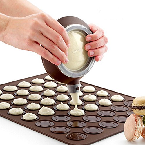 Vigorlife Macaron Making Set- 48 Capacity Macaron Silicone Baking Mats Non stick Cakes Mould Trays Bakeware and Decorating Pen Icing Tips with 4 Nozzles