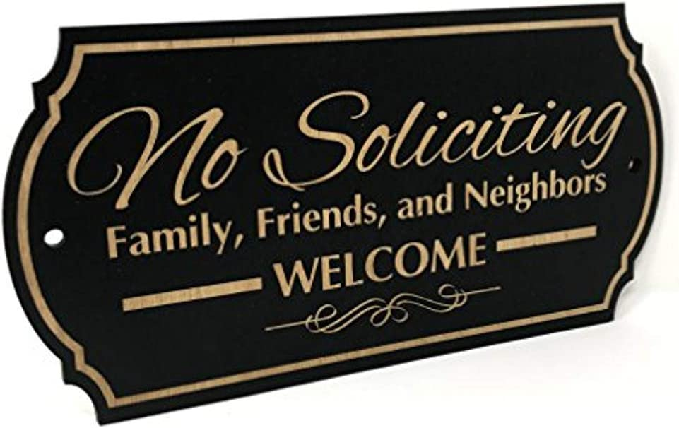 """PLS Market Rustic No Soliciting Sign Family Friends and Neighbors Welcome Front Door Sign (3"""" x 6"""")"""