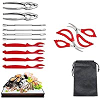 Seafood Tools Set Includes 4 pcs Lobster Shellers,4 pcs Crab Leg Forks,2 pcs Seafood Tongs,2 pcs Seafood Scissors with 1…