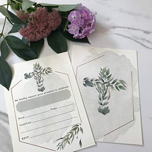 Religious Invitations - Boys or Girls - 20 Fill-in Cards with Stickers & Envelopes for Baptism, Christening, First Communion, Confirmation, 5 x 7 Inches by Nora's Nursery (Image #1)