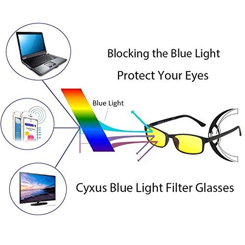48cd2cd699fd15 Cyxus flexible et léger(TR90) rectangle lunettes filtre à lumière bleue  lentille  jaune