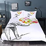 SleepWish Elephant Bedding Colorful Floral Bed Sheet Set White and Black Duvet Cover Printed Bedclothes Queen Size