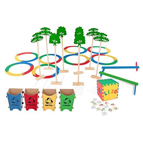 Corrida da Coleta Seletiva 154 Peças Maleta Mdf Caixa Papelão Carlu Brinquedos