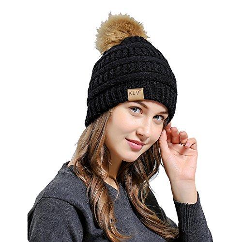 Chapeau Femme Hiver Bonnet Automne Chaud Tricoté Pompom Avec Noir Ski Acvip qXwHdAxEfw