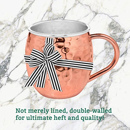Gift Wrapped Set of 4 Moscow Mule Copper Mugs with Stainless-Steel Lining | Large Gift Box Includes 4 Double Wall Copper Mugs, Shot Glass & Cocktail Recipe Book | Premium, Hammered, Heavy-Duty Cups by Urban Vintage LA (Image #8)
