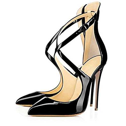 buy cheap newest free shipping pre order Onlymaker Women's Pointed Toe Crisscross Strappy High Heels Stiletto Pumps Ladies Ankle Strap Party Wedding Dress Shoes Black Pu cheap sale best prices discount many kinds of uysKCHd