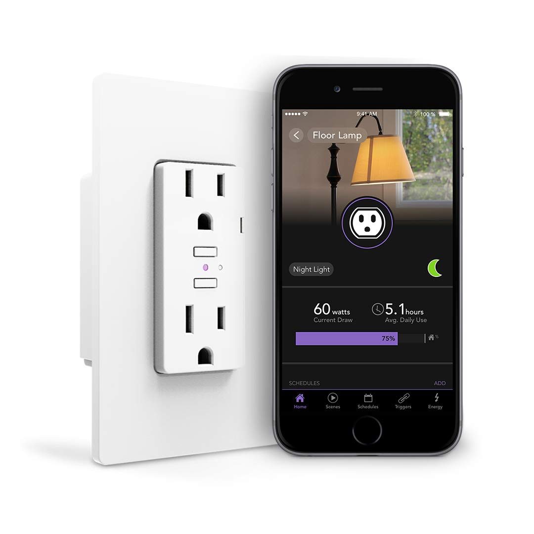 iDevices IDEV0010 Wi-Fi Smart Wall Outlet, Works with Alexa White