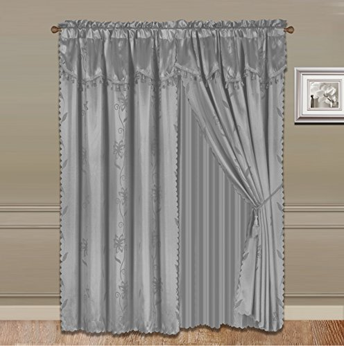 GorgeousHomeLinen 8 PC Nada Luxury Faux Jacquard Floral Design Panel, Rod Pocket Window Curtain Set Attached Valance, Panel, And Sheer- 2 Tie Backs Included (95