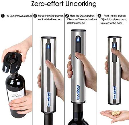 Sacacorchos,Abridor de vino eléctrico, sacacorchos automático recargable, abrebotellas de vino con cortador de papel de aluminio y cable de carga USB