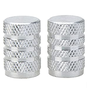 SODIAL(R) Alloy Tire valve cap, bicycle, motorcycles and cars with Schrader valve, 2 set, Silver