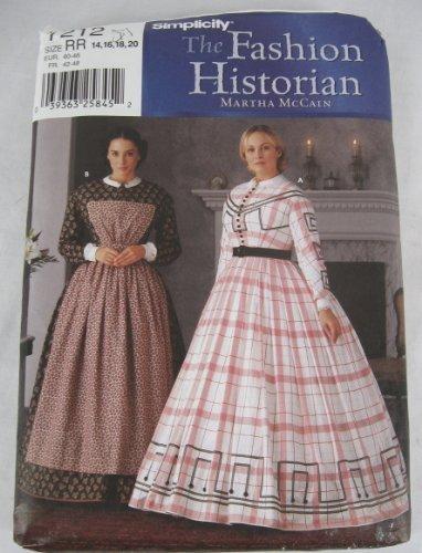 Simplicity #7212 Costume Sewing Pattern The Fashion Historian - Martha McCain Civil War Era Dress / Gown (Reinactment Attire, Theatre, Halloween) by The Fashion Historian