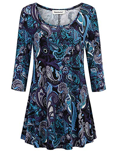 Nandashe Casual Tunics for Work, Floral Shirts for Women V Neck Short Sleeve Cross Front Flattering Pattern Flared Hem Soft Knit Vintage Print Clothing Drape Blouse Purple Flower - Front Knit Cross Dress