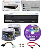 Pioneer 16x BDR-211UBK Internal Ultra HD Blu-ray BDXL Burner, Cyberlink Software and Cable Accessories Bundle with 100pk BD-R Ridata 25GB 6X White Inkjet, Hub Printable
