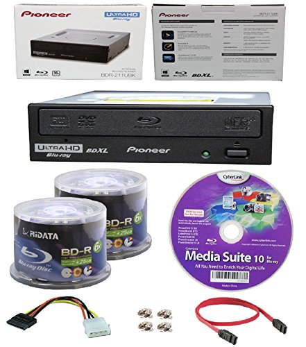 Pioneer 16x BDR-211UBK Internal Ultra HD Blu-ray BDXL Burner, Cyberlink Software and Cable Accessories Bundle with 100pk BD-R Ridata 25GB 6X White Inkjet, Hub Printable by Produplicator