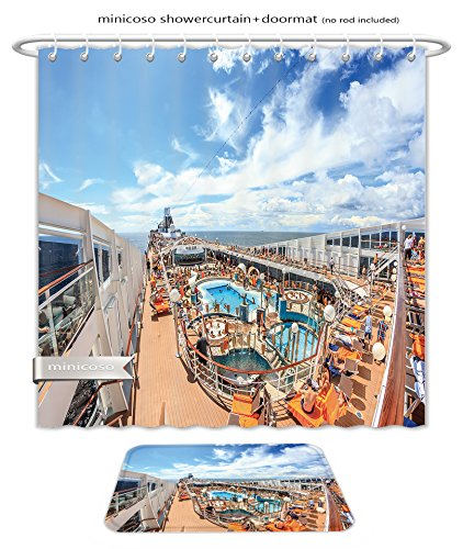 American Line Cruise Ship (Minicoso Bath Two Piece Suit: Shower Curtains and Bath Rugs Msc Cruise Liner July Luxurious Cruise Ship Msk Musica Upper Deck With A Solarium Shower Curtain and Doormat Set)
