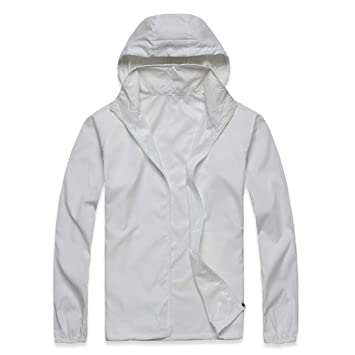 ECYC Chaqueta Impermeable Ciclismo Jersey Hombres Mujeres, Blanco, 3XL