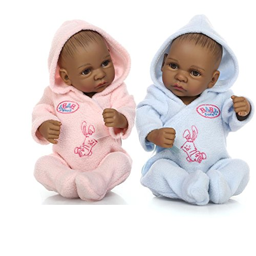 Twin Black Body - African American Full Body Silicone Baby Dolls Reborn Black Twins Waterproof 11inch with Clothes
