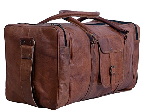 Komal's Passion Leather 24 Inch Square Duffel Travel Gym Sports Overnight Weekend Leather Bag (Best Leather Weekend Bag)