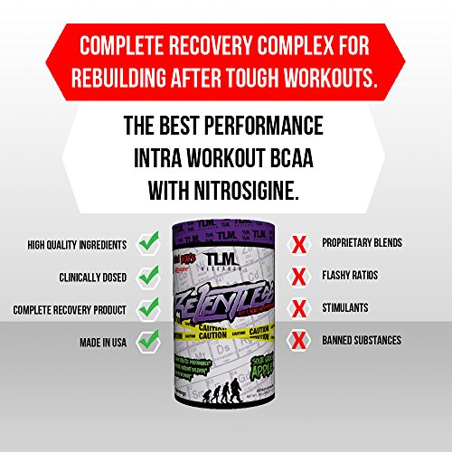 TLM Research Relentless BCAA s Intraworkout and Post Workout Recovery 30 Servings Cool Blue Raspberry