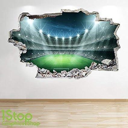 f8ff3008 FOOTBALL STADIUM WALL STICKER 3D LOOK - BOYS KIDS BEDROOM WALL DECAL Z80  Size: Large