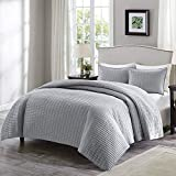 Cheap Full Size Bedroom Sets Comfort Spaces - Kienna Quilt Mini Set - 3 Piece - Gray - Stitched Quilt Pattern - Full/Queen Size, Includes 1 Quilt, 2 Shams
