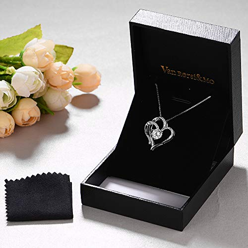 a1e3ba6e01f Heart Necklace 14K White Gold Plated 5A Cubic Zirconia Pendant Necklaces  for women