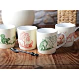 Creative Tops Woodland Toile Fine China Barrel Mugs in Gift Pack, Set of 4, Multi-Colour