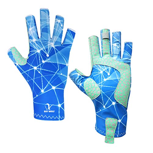 day wolf Fishing Gloves UV Protection Breathable Fingerless UPF 50+ for Outdoor Rowing Kayaking Paddling Hiking Cycling Driving Shooting Training for Men and Women