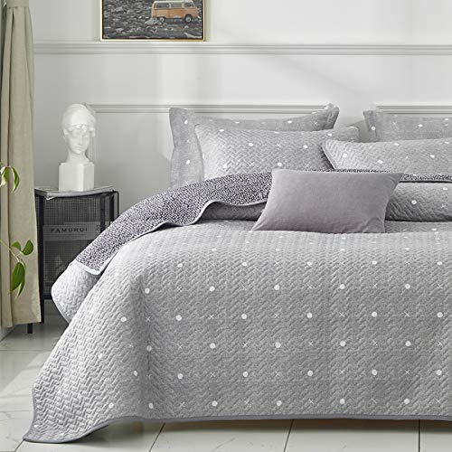 Uozzi Bedding 3 Piece Reversible Quilt Set King Size 104x90 Soft Microfiber Lightweight Coverlet Bedspread Summer Comforter Set Bed Cover Blanket for All Season Gray Dots & Cross (1 Quilt+ 2 Shams)