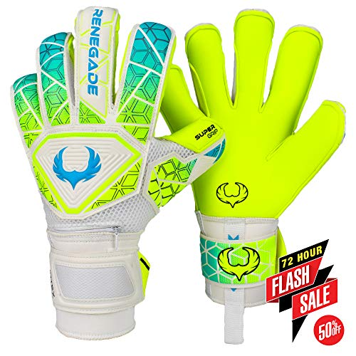 (Renegade GK Vortex Wraith Roll-Hybrid Cut Level 3 Goalie Gloves with German Hypergrip Palms - Goalkeeper Gloves Size 11 White, Neon Yellow, Blue - Great Goalkeeer Gear)