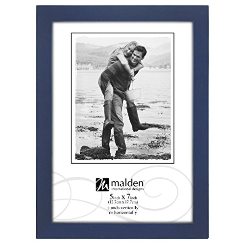 Malden International Designs Navy Blue Concept Wood Picture Frame, 5x7, Blue Design Photo