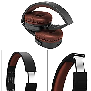 On-Ear Headphones Super Deep Bass Lightweight Wireless Bluetooth Headsets 3-Day Continuously Music Playing Time with Mic Audio and Wired Mode Noise Isolation Folding Gaming for Phone PC - Brown