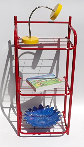 Red Bookshelf Metal Shelf Bathroom Book Office Den