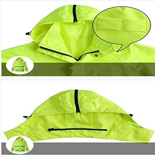 GSHWJS- trash can Waterproof Rain Jacket and Pants, Reflective Safety Raincoat Hooded Poncho Set, Green Reflective Vests (Size : XXXL) by GSHWJS- trash can (Image #6)