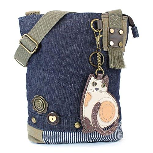 Chala Patch Cross-Body Women Handbag, Canvas Messenger Bag - Lazy Cat - Denim