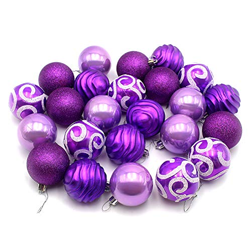 Woowell 24ct Christmas Balls 2.36/60mm Shatterproof Diversiform Ornaments, Tree Topper Decor Pendants for Xmas, Home, Party, Holiday (Purple)