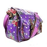 Miss Lulu Oilcloth Prints Satchel Messenger Shoulder School Bag (Flower Purple)