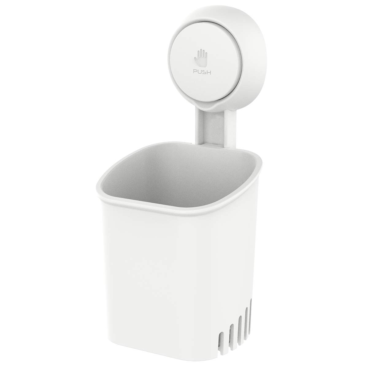 TAILI Suction Cup Toothbrush Holder Wall Mounted, Power Lock Bathroom Shower Organizer for Electric Toothbrushes, Toothpaste, Shaver, Razor and Makeup Brush, No Drill or Nail Needed - White